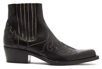Calvin Klein Grained Leather Squared Toe Ankle Boots - Mens - Black