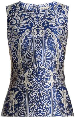 Mary Katrantzou Dino sleeveless Cards-jacquard top