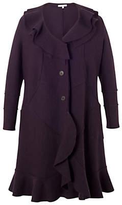 Chesca Wool Flounce Trim Coat, Aubergine
