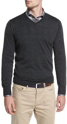 Peter Millar Collection Merino-Silk V-Neck Sweater, Iron Melange $298 thestylecure.com