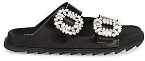 Roger Vivier Women's Viv Crystal-Buckle Leather Slides Sandals