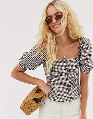 And other stories & linen puff sleeve top in brown gingham