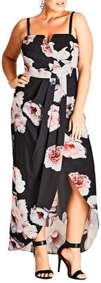 City Chic 'Open Rose' Print Tulip Hem Maxi Dress