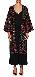 Zero Maria Cornejo Women's Oki Jacquard-Knit Fil Coupé Long Coat - Black, Rouge, White pepper