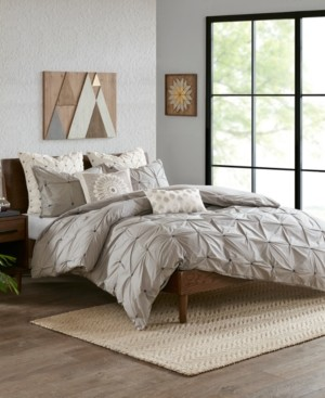 Ink+Ivy Masie Full/Queen 3 Piece Elastic Embroidered Cotton Duvet Cover Set Bedding