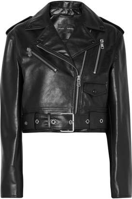 Proenza Schouler Cropped Leather Biker Jacket - Black