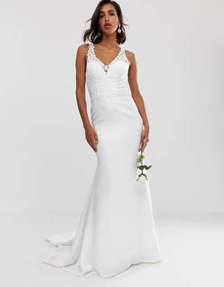 Asos Edition EDITION embellished lace bodice wedding dress with crepe skirt