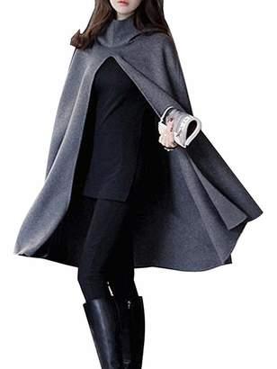 Choies Women's Split Front Hooded Cape Poncho Cape Soft Woolen Cloak Coat XL