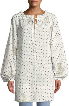 Loewe Long-Sleeve Printed Cotton Peasant Blouse