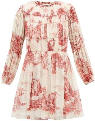 Chloé Smocked Toile De Jouy Print Silk Mini Dress - Womens - Red White