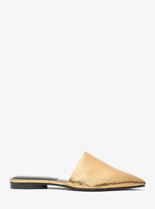 Michael Kors Darla Crackled Metallic Leather Mule