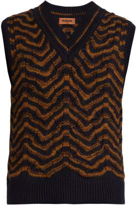 Missoni Wave-intarsia wool-blend vest