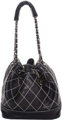 Chanel Black & White Quilted Leather Small Surpigue Bucket Bag