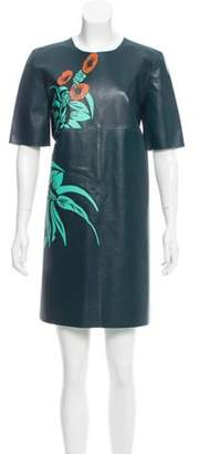 Marni Floral Leather Dress Teal Floral Leather Dress