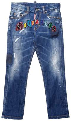 DSQUARED2 Logo Patches Stretch Cotton Denim Jeans