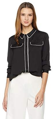 Essentialist Women's Flap Pocket Button Down Blouse with Contrast Piping