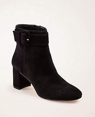 Ann Taylor Nettie Buckle Heeled Suede Booties