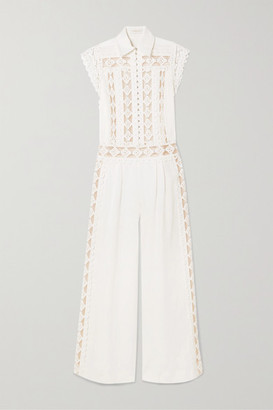 Zimmermann Moncur Studded Linen, Cotton And Silk-chiffon Jumpsuit
