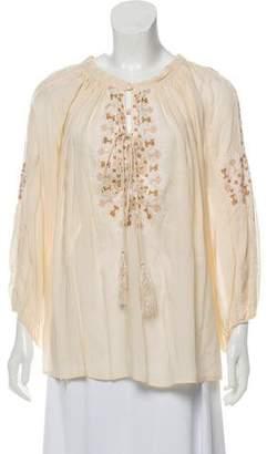 Melissa Odabash Embroidered Long Sleeve Top