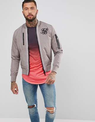 SikSilk Bomber Jacket In Stone