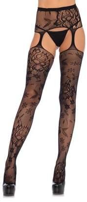 Leg Avenue Women's Floral Lace Suspender Hose with Garterbelt, Black, O/S