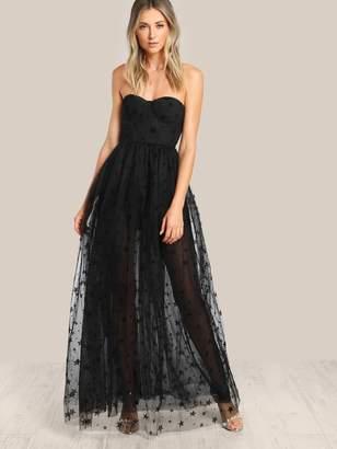 Shein Star Flock Mesh Overlay Strapless Bustier Dress