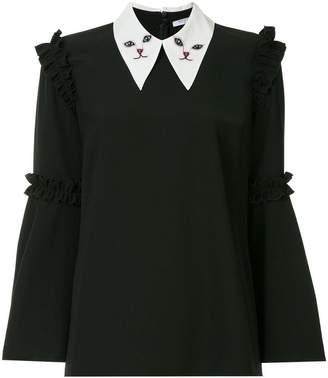 Vivetta cat embroidered collar blouse