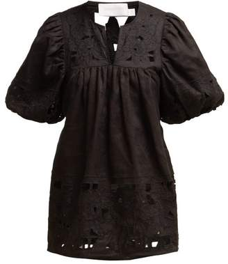 Zimmermann Juno Embroidered Balloon Sleeve Top - Womens - Black