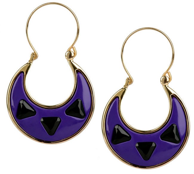 House Of Harlow 1960 Purple Resin & Black Stone Earrings