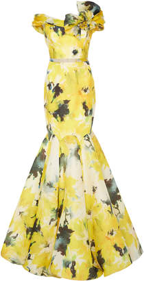 Marchesa Floral Printed Silk Moiré Fit And Flare Gown