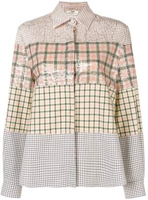 Fendi color block check shirt