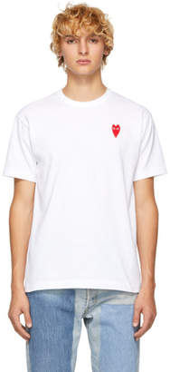 Comme des Garcons White Long Heart Patch T-Shirt