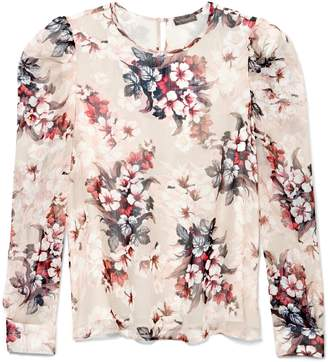 Vince Camuto Floral-print Puff-shoulder Blouse