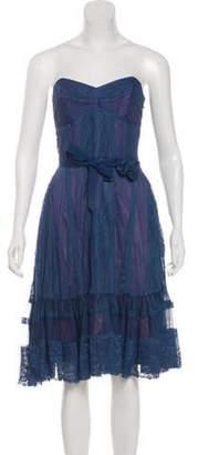 Anna Sui Lace Mini Dress Blue Lace Mini Dress