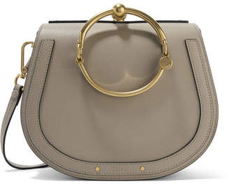 Chloé Nile Bracelet Medium Textured-leather And Suede Shoulder Bag - Gray