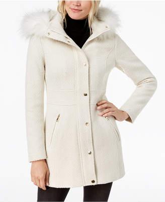 INC International Concepts I.n.c. Faux-Fur-Trim Woven Coat