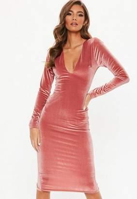Missguided Velvet Long Sleeve Plunge Midi Dress