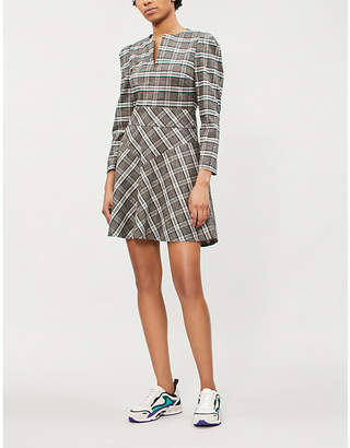 Maje Rity checked wool-blend dress