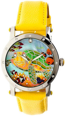 Mother of Pearl BERTHA Bertha Womens Chelsea Mother-Of-Pearl Yellow Leather-Band Watchbthbr4902