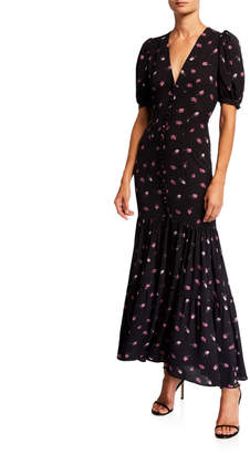 Rotate by Birger Christensen Number 20 Printed Button-Front Long Dress