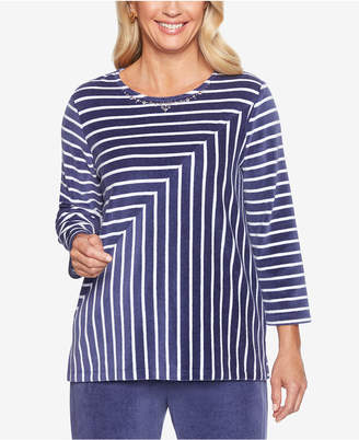 Alfred Dunner Comfortable Situations Mitered Stripe Velour Top
