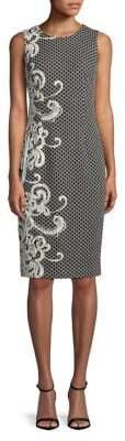 Adrianna Papell Scroll Border Knitted Sheath Dress