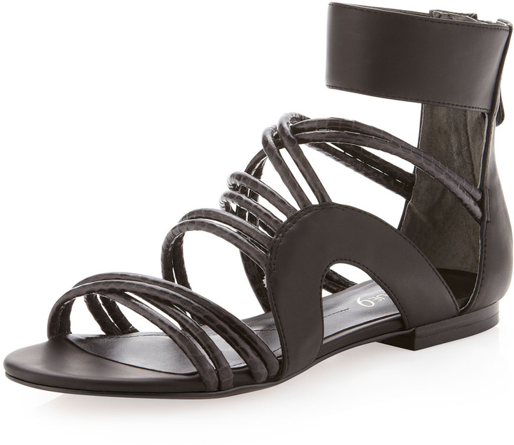 Boutique 9 Snake-Embossed Strappy Sandal, Black