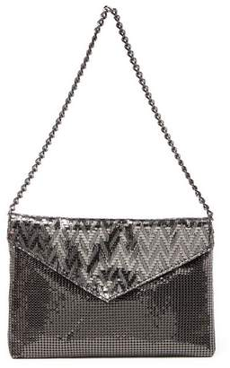 Whiting & Davis Weave Leather Trimmed Envelope Clutch