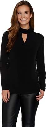 Susan Graver Liquid Knit Long Sleeve Turtleneck Top w/ Keyhole