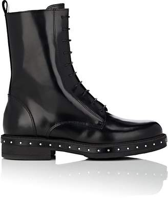 At Barneys New York  C2 B7 Barneys New York Womens Stud Detailed Spazzolato Leather Combat Boots
