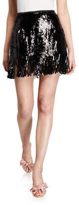 Le Superbe Speak Easier Sequined Fringe Short Skirt