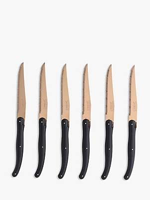 Jean Dubost Le Thiers Laguiole by Copper and Black Steak Knives, 6 Piece