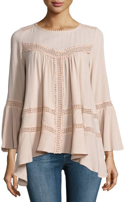 Cirana Flared Lace-Inset Top, Light Pink $85 thestylecure.com