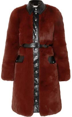 Sonia Rykiel Belted Faux Fur Coat - Burgundy